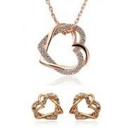 2014 wholesale18K Gold plated Women Fashion Wedding Double Heart necklaces & pendants Earrings Jewelry Sets for women