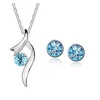 Fashion 18K white gold plated austrian crystal accessories Starlit Night pendant necklace/earrings women Jewelry Sets