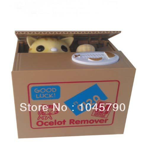Free Shipping 1X Automated Yellow Cat Steal Coin Piggy Bank Kitty Saving Money Box Coin Bank Money Bank Christmas Gift(China (Mainland))