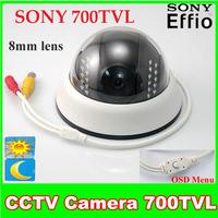 "1/3"" Sony Super HAD CCD II  Effio-e 700TVL OSD Menu 8mm Lens 22 IR Leds  Day Night Dome Security Camera"