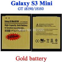 2 pcs, 2450mAh GOLD EB425161LU business Battery for Samsung GT-i8190 Galaxy S3 Mini Ace 2 GT i8160 Bateria Batterie ACCU