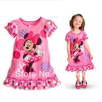 Designer 2014 Children Kids Girls Minnie Mousetutu Casual Dress girls' Short Sleeve Print One-Piece dresses summer baby clothes