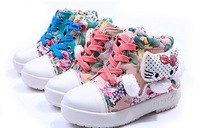 New 2014 Spring Autumn Winter Hello Kitty Multicolor Square Root Plus Thick Velvet  Winter Boots Children Boots
