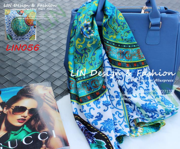 Атлас Шелковый шарф женский дизайн двойного