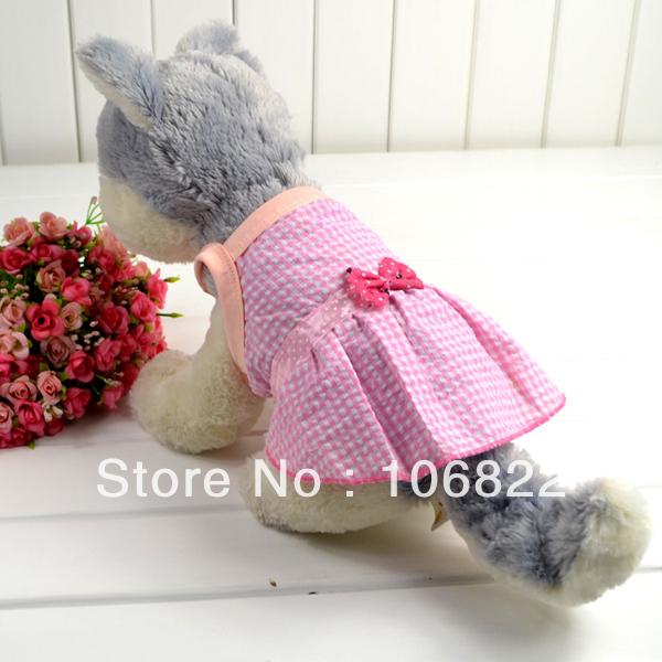 Summer Pet Dog Puppy Princess Sleeveless Bow Lattice Dress Apparel Clothing Top Free shipping&DropShipping(China (Mainland))