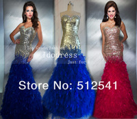 Actual Images Feathers Prom Dresses 2014 Mermaid Sweetheart Rhinestone Sequin Organza Girl gowns yk8R180