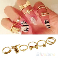 7Pcs Punk Promotion Gold Color Skull Bowknot Heart Nail Simple Band Mid Finger Top Stacking Rings Set for Women