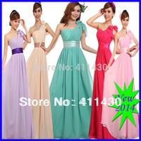 free shipping 2015 new fashion blue and green long evening dress one shoulder long plus size S-5XL chiffon formal dress