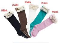 girl autumn socks kids children's knee BOOT high socks with lace baby cotton socks meias socks for children