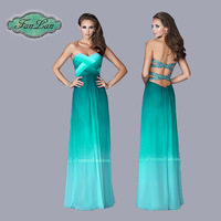 Fashion Design omber Crisscross Sexy Open Back Beads Floor Length Evening Dresses Party Gowns 2014