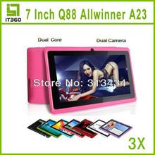 3pcs 7 inch Dual Core Allwinner A23 Q8 Q88 Android 4.2 Dual Cameratablet pc 1.5GHz 512M 4GB A13 A20 VIA 8880 Upgrade