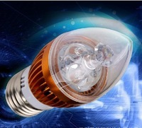 50pcs/lot led candle bulb  candle lamp with 1 year warranty free fedex shipping
