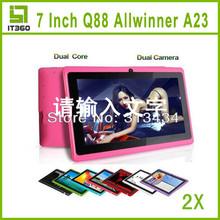 2pcs 7 inch Dual Core Allwinner A23 Q8 Q88 Android 4.2 Dual Camera Capacitive Screen tablet pc 1.5GHz A13 A20 VIA 8880 Upgrade
