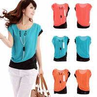 Women Career Casual Short Sleeve Round Neck Blouse Slim Chiffon Shirt W4273