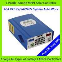 CE RoHS  60A 48V PV regulator, 48V 60A SMART2 MPPT solar charge controller with RS232 Lan Solar street light DC load ctrl