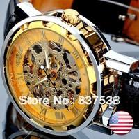 2014 Winner brand Mens Military Black Skeleton Hand Wind Mechanical Watch Wrist Watch PU Leather Strap Drop Ship Freeshipping