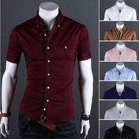 SALE Plus Size Mens social Shirts Short-sleeved camisas roupas masculinas homem social men Slim Fit Casual Mens Dress Shirts