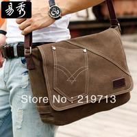 2014 Men's Coffee Canvas Messenger Bags New Fashion School Shoulder Bag Free Shipping