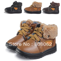 Winter kids fur boots children waterproof snow boots for boy brand leather warm child shoes suit for 0 to 6 years boys