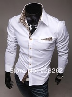 Leopard Camisa T-Shirt Mens Slim Fit Shirts Fashion 2013 Casual Men Camisetas Masculinas Shirts Long Sleeve Cotton Free Shipping