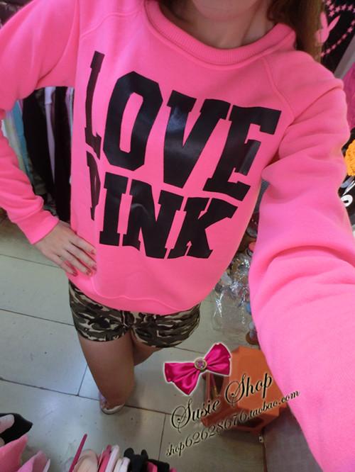 HOT SALE! 2014 fashion sweet sexy neon pink love pink plus velvet long-sleeve pullover sweatshirt sport hoodie ,Free shipping!(China (Mainland))
