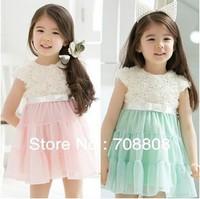 2013 New Fashion Girls Dress Retail Baby Chiffon Flowers Tutu Princess Dress Children Party dress Kids clothing Wholesale