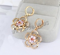 Free shipping!!!Brass,Wholesale, Flower, 18K gold plated, with cubic zirconia, nickel, lead & cadmium free, 35x20mm