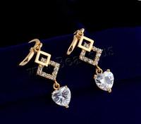 Fashion Fine Jewelry 18K Gold Plated Earrings with cubic zirconia Drop Earring for Women Girl Earings