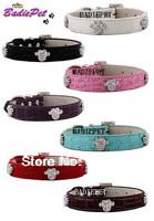 MOQ:20pcs!(7colors3sizes)Free Shipping!Rhinestones Paw Print Faux Croc Leather Pet Collars S M L