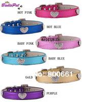 MOQ:20pcs!(7colors3sizes)Free Shipping!Rhinestones Heart Metallic PU Leather Dog Collars S M L