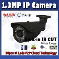1.3MP 960P Onvif IP Camera IR Cut Support P2P Cloud service PC Mobile Phone View CCTV Surveillance Network Camera Free Shipping