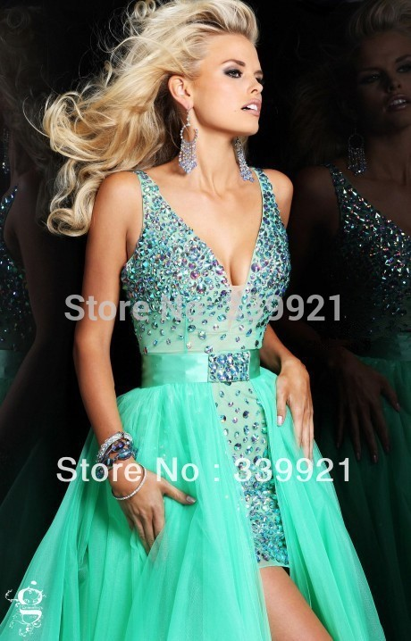 2014 New Arrival Real Photo!Champagne Pink Green Deep V-Neck Front Short Long Back Cocktail Dress Prom Dress Detachable Skirt(China (Mainland))