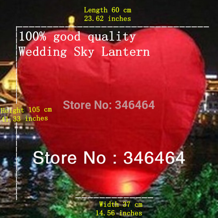 Good quality 40 pcs Heart-shaped Red Sky Lantern 40 / Prayer Lamp / Hot Air Balloon(China (Mainland))