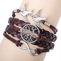 Fashion vintage 8 hand bracelet alloy accessories handmade knitted shamballa nomination leather bracelets for women & men girls