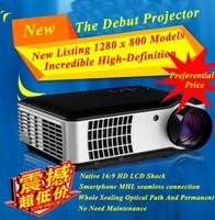 China Factory New Arrival! high performance digital HD LED video projector 3D full hd 1080p support, HDMI USB VGA AV TV Tuner