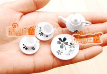 [DOLLHOUSE mini-acessórios de móveis casa de bonecas bule delicado e bonito preto e branco com modelo](China (Mainland))