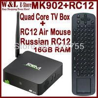 Newest Rikomagic MK902 RK3188 2GB RAM 16GB ROM Android TV Box Quad Core Camera Mic Bluetooth WIFI DLNA + Russian RC12 Air Mouse