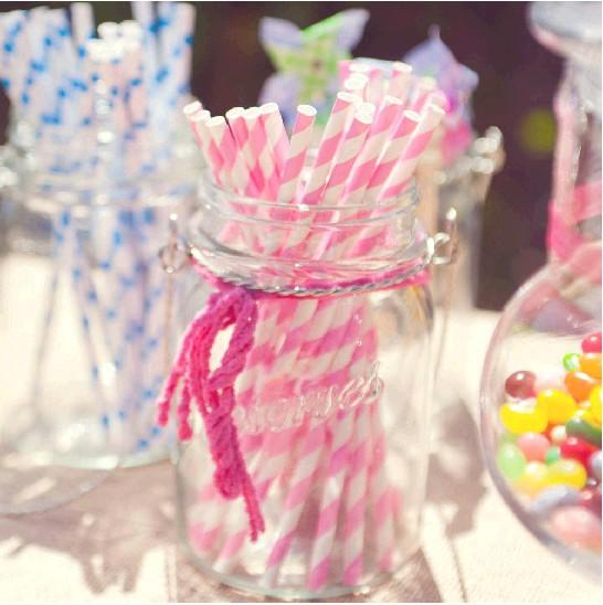 Free Shipping 100pcs/Lot Drinking Color Strip Chevron And Polka Dot Paper Straws For Wedding Decoration(China (Mainland))