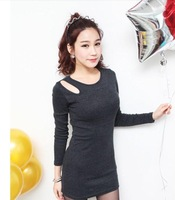 Slim new Korean nightclub sexy dress / long sleeve base package hip dress