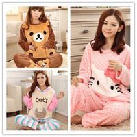 1Set,Cashmere Animal Women's Pajamas Sets Cartoon Bear Winter Thick Warm Coral Velvet Sleeping Suit Tracksuit 215