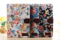 New Arrival Flower Leather Case with Card Holders for Apple iPad mini 2nd with Retina Display, Fit  for Apple iPad mini 1 2