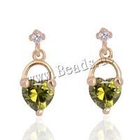 Free shipping!!!Brass,2013 new summer, 18K gold plated, with cubic zirconia, nickel, lead & cadmium free, 6mm, Sold By Pair