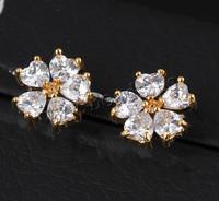 Brass Stud Earrings Birthday Gift Flower 18K gold Earrings for Women Girl Fine cubic zirconia Earrings, Fashion Jewelry Earings
