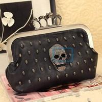 Women Rings Skull Handbag Knuckle Clutch Messenger Bag Evening Shoulder Purse