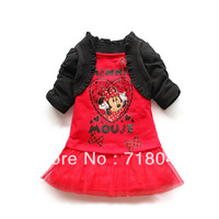 New 2014 Girl Princess Lace Dress Children Minnie Mouse Cartoon Print Clothing For Summer Child Baby Outwear Brand High Quality