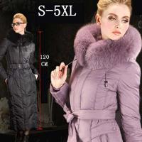 2013 Winter New Fashion High Quality Brand Luxury Ultra Long Slim Women Down Coats Female Fox Large Fur Collar Plus Size S-5XL