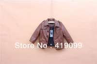 5pcs/lot wholesale baby boys leather jacket new 2013 children's leather jacket children winter coat kids clothing