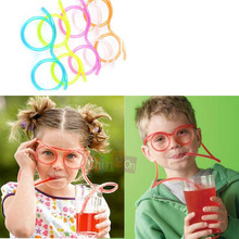 Free Shipping 5pcs/lot Unique Flexible Novelty Soft Glasses Straw Glasses Drinking Tube Fun Drinking(China (Mainland))
