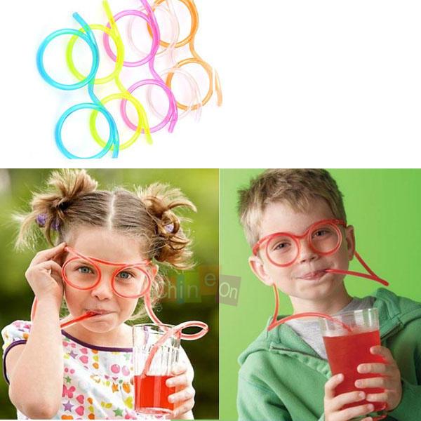 Free Shipping 5pcs/lot Unique Flexible Novelty Soft Glasses Straw Glasses Drinking Tube Fun Drinking(China (Mainland))