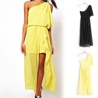 Big Sale  2013 new big size one shoulder chiffon long dress women bodycon beach dresses  vestido